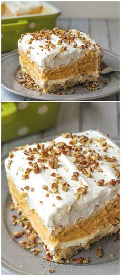 Layered Pumpkin Dessert - a cool and creamy dessert to enjoy in the fall { lilluna.com }