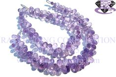 Amethyst (Pink) Faceted Drops (Quality AA) Shape: Drops Faceted Length: 18 cm Weight Approx: 13 to 15 Grms. Size Approx: 4x6.5 to 5.5x9 mm Price $36.00 Each Strand