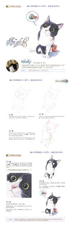 警长猫的画法:Holly。摘自《画给喵星人的小情书》,官纯 编著。