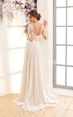 A-Line Maxi Scoop Long-Sleeve Low-V-Back Lace Dress With Appliques And Pleats