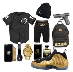Black Nd Gold by zer0fvcksdoe on Polyvore featuring polyvore, Stussy, Versace, Nixon, Moschino, Casetify, Beats by Dr. Dre, Salvatore Ferragamo, NIKE, men's fashion, menswear and clothing