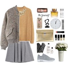Love for simple color and style by itsmytimetoshinecoco on Polyvore featuring moda, MANGO, Acne Studios, Fall Winter Spring Summer, NIKE, Golden Goose, Oscar de la Renta, Valentino, Casetify and Hourglass Cosmetics