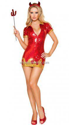 Sequin Red Hot Devil Shirt Top Mini Queen Set Medium M Cute Halloween Costume