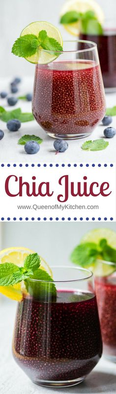 Chia Juice - Reap the health benefits of chia seeds in your morning breakfast juice with this simple recipe that packs a powerful nutritional punch! Vegan and gluten-free. | http://QueenofMyKitchen.com