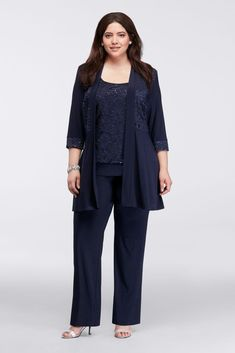 Long Lace Jacket Three-Piece Plus Size Pantsuit Mother Of The Bride Plus Size, Mother Of The Bride Suits, Mother Bride, Wedding Pantsuit, Wedding Suits, Plus Size Cocktail Dresses, Plus Size Dresses, Davids Bridal Plus Size, Dressy Pant Suits