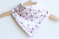 Organic Cotton Baby Bandana Bib - Triangles Pink and Grey - Adjustable dribble bib on Etsy, $11.39