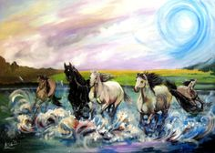 Original acrylic painting Horses in the by ArtonlineGallery, $250.00