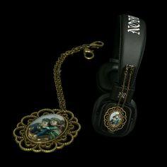 Headphones with attachable pendants --  http://noddders.com/product/vintage-pendant-headphones/  ---- #subculture #victorian #steampunk #retro #vintage #comics #cartoon #characters #alternative #underground #collection #collectibles #style #stylish #cute #couple #anime #music #headphones #pendants