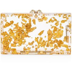 Charlotte Olympia Pandora Gold Flake Clutch (2 130 AUD) ❤ liked on Polyvore featuring bags, handbags, clutches, bolsas, gold flake, charlotte olympia handbags, clear purse, gold minaudiere, gold handbags and gold clutches