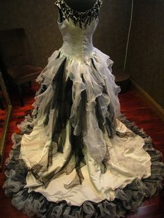 Sensational Silver and Black Wedding Dress Gothic Victorian Custom Made to your…