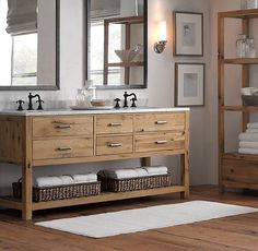 Cool bathroom vanity. mix of rustic and modern. Just need to find one with one sink that is as long.
