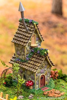 Bring your fairy garden to life with trendy updates and ready-made pieces!It can be really fun to create a fairy garden and you can include the kids in the project Fairy Tree Houses, Clay Fairy House, Fairy Garden Houses, Fairy Crafts, Garden Crafts, Garden Projects, Garden Ideas, Miniature Fairy Gardens, Miniature Houses