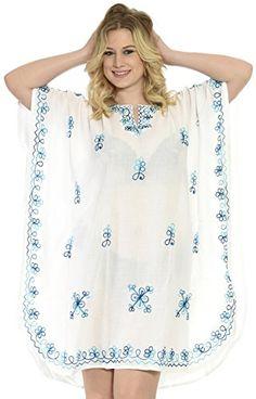 22452fd7fe Introducing La Leela Hand Embroidered Rayon V Neck Plus Size Tunic Short  Women White Caftan Valentines. Women s Plus Size SwimwearMaternity ...