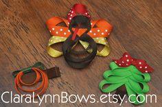 Holiday Ribbon Sculpture Hair Bow Trio (Pumpkin, Turkey, Christmas Tree)