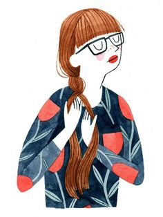 #Illustrationstyle Cute little drawing of a girl with bangs and glasses.