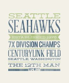 SEATTLE SEAHAWKS - 8x10- Rustic - Vintage Style - Typographic Art Print - Subway Style - Football