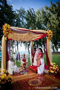 For Their Beautiful Indian Wedding Ceremony This Couple Has A Traditional Mandap Set On The Beach In Hawaii