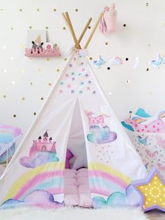 Kids Tepee with Castle and Unicorns to buy on Etsy - HappySpacesWorkshop -Tipi with poles, Unicorn decor, Teepee for girl, Kids indoor outdoor playtent, Wigwam, kids teepee tent,pastel girls room ideas, unicorn decor