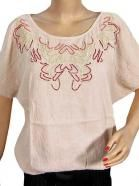 Beaded Cotton Tops Blouse White T-shirt  $16.99