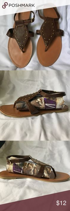 Old Navy Sandals Worn once. Great condition. Brown sandals with gold stud details and gold buckle. Please feel free to ask any questions! Old Navy Shoes Sandals