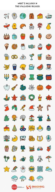 Many handdrawn illustrations candy teapot cake turkey circus mask harp doughnut strawberry Doodle Drawings, Easy Drawings, Doodle Art, Mini Doodle, Icon Set, All Icon, Free Hand Drawing, Budget Planer, Sketch Notes