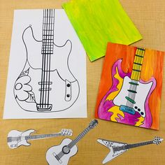 Another throwback to 5th grade Guitar Paintings. They could design/decorate the body and crop and enlarge the guitar to make a more…