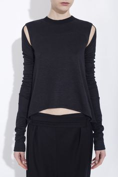 BLACK ASYMMETRICAL ORGANIC LINEN JERSEY TOP  honest by. BRUNO PIETERS