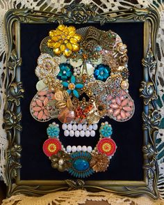 Beautiful Vintage Jewelry Framed Art Día de Muertos (Day of the Dead) Handmade Sugar Skull by UpCycledAssemblage on Etsy https://www.etsy.com/listing/255391558/beautiful-vintage-jewelry-framed-art-dia
