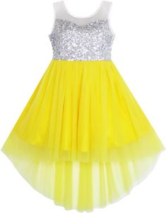 Girls Dress Sequin Mesh Party Princess Tulle Shiny Glitter Size 7-14 Years