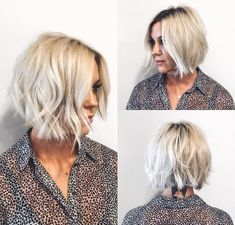 This Choppy Platinum Bob with Undone Texture and Shadow Roots is a great modern . - This Choppy Platinum Bob with Undone Texture and Shadow Roots is a great modern haircut for someone - Platinum Bob, Platinum Blonde, Short Platinum Hair, Hair Shadow, Shadow Roots, Pelo Midi, Wavy Bob Hairstyles, Latest Hairstyles, Brown Blonde Hair