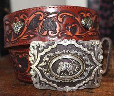 Brighton Brown Leather Silver Hearts Horse Lover Belt Small 30 #Brighton