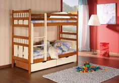 Pat etajat din lemn masiv de pin pentru copii Oliwier #homedecor #interiordesign #inspiration #bedroom #kidsroom #kids Beds For Sale, Double Beds, King Beds, 2 Colours, King Size, Mattress, Contemporary, Wood, Interior