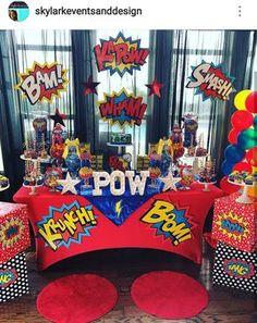 Superhero Wonder girl theme Birthday Party Dessert Table and Decor
