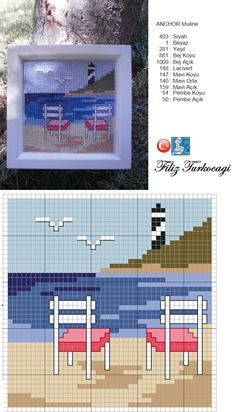 Summer pattern designed by Filiz Türkocağı Cross Stitch Sea, Modern Cross Stitch, Cross Stitch Flowers, Cross Stitch Charts, Funny Cross Stitch Patterns, Cross Stitch Designs, Cross Stitching, Cross Stitch Embroidery, Cross Stitch Landscape
