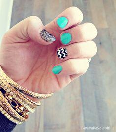 turquoise, black, white, chevron stripe & glitter nails