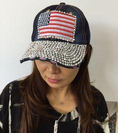 Blue Jean Denim American Flag Rhinestones Womens Baseball Hat Adjustable Strap #BaseballCap