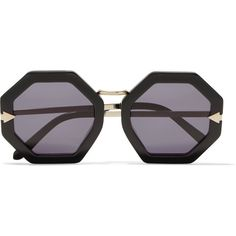 b04119e14768d6 Karen Walker Moon Disco square-frame acetate and gold-tone sunglasses  ( 125) ❤ liked on Polyvore featuring accessories, eyewear, sunglasses,  black, ...