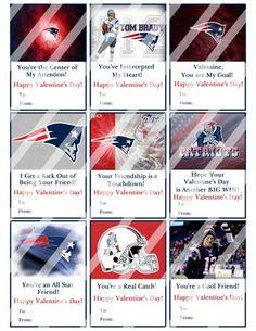 New England Patriots Printable Digital Valentines Day Cards #4