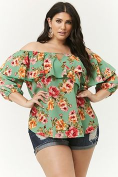 4715817ca0b9c7 Plus Size Floral Flounce Off-the-Shoulder Top Types Of Patterns