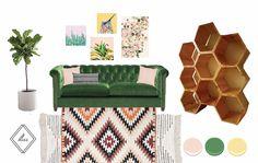 Pink + Green Living Room Interior Design by Bliss Design Studio #EONeyeofnature, #katejarman, #parimacreativestudio, #highfashionhome, #luluandgeorgia, #cb2, #urbanoutfitters, #benjaminmoore, #blush, #rosequartz, #emerald, #moodboard