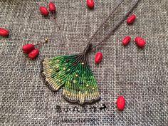 macrame ginkgo leaf necklace pendant