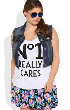 Plus Size Racerback Tunic Tank with No1 Really Cares Screen