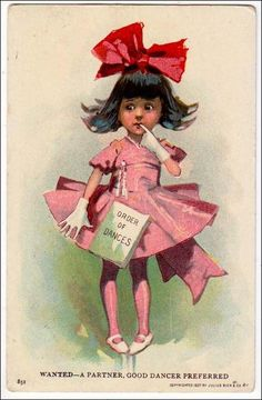 "1901 postcard, illustrator unknown ""Wanted, A Partner, Good Dancer Preferred"""