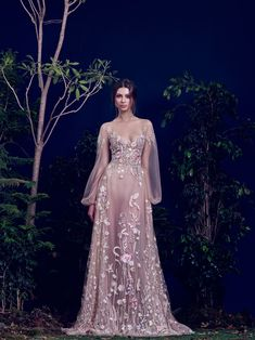Hamda AlFahim Fall Winter 2016 Nude Tulle Fully Embroidered Dress with Bell Sleeves