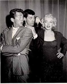 Dean Martin, Jerry and Marilyn Monroe, during Martin & Lewis' reception of the Photoplay Award.
