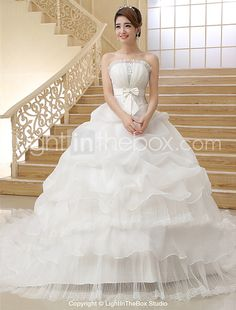 Ball Gown Wedding Dress Vintage Inspired Chapel Train Strapless Organza with Bow Pick-Up 2017 - $109.99