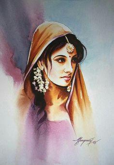 29 Ideas Dancing Drawings Watercolors For 2019 Indian Women Painting, Indian Art Paintings, Illustration Sketches, Art Drawings Sketches, Dancing Drawings, Watercolor Illustration, Watercolor Portraits, Watercolor Paintings, Painting Canvas