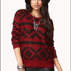 Forever 21 Mixed Knit Geo Sweater Never been worn, like new condition! Comfy knit red sweater with black geo pattern; crew neck Forever 21 Sweaters Crew & Scoop Necks