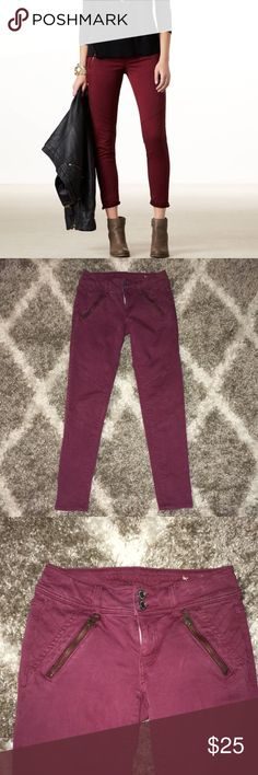 American eagle Outfitters! Burgundy skinny jeans Beautiful maroon wine Moto style skinny jeans! Great condition! Check out my other listings! Bundle and save:) American Eagle Outfitters Jeans Skinny