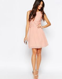 Image 4 ofClub L Skater Dress With Eyelash Lace Overlay